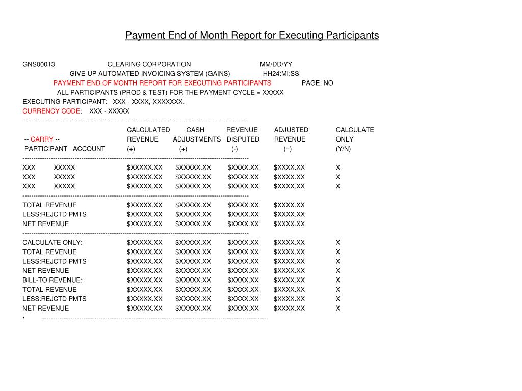 Payment End of Month Report for Executing Participants