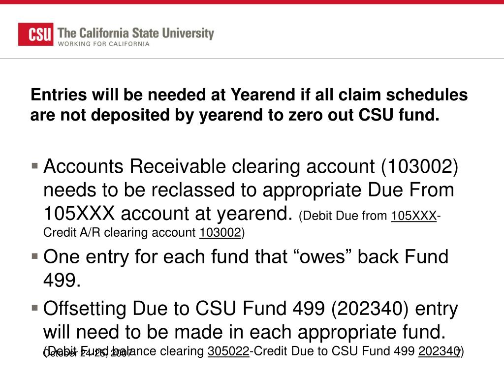 Entries will be needed at Yearend if all claim schedules are not deposited by yearend to zero out CSU fund.