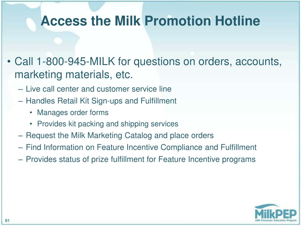 Access the Milk Promotion Hotline