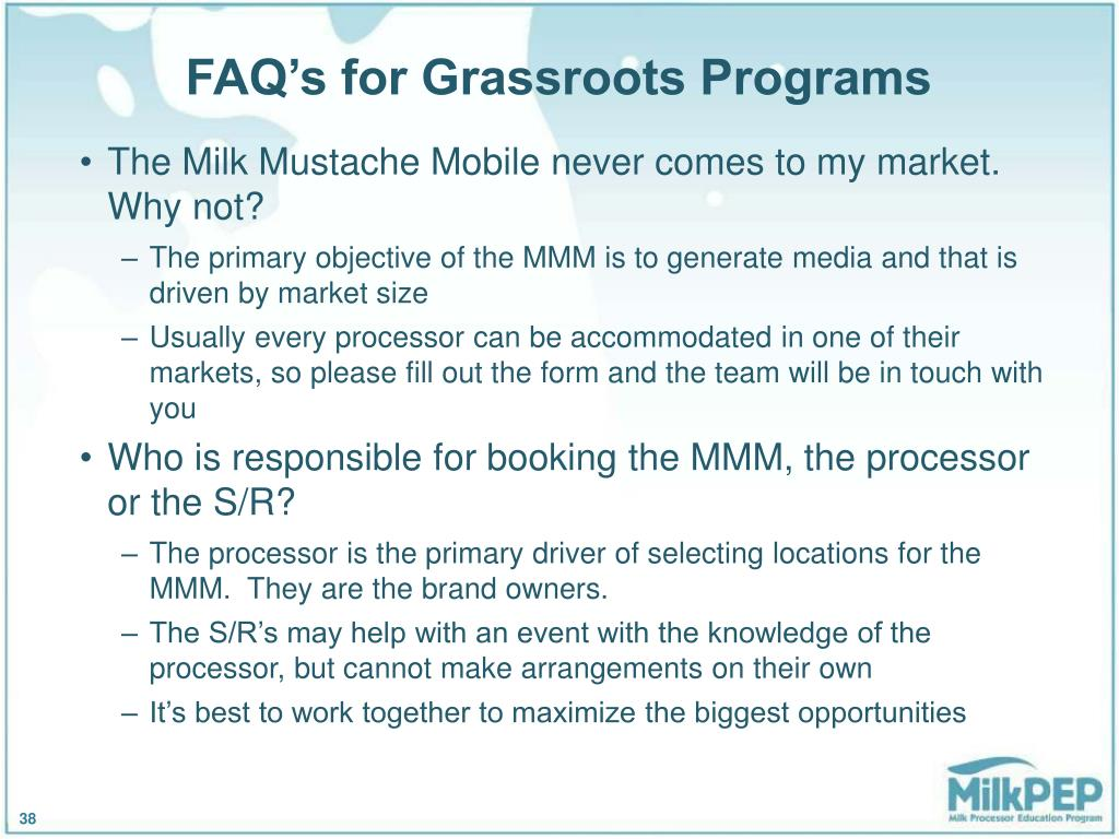 FAQ's for Grassroots Programs