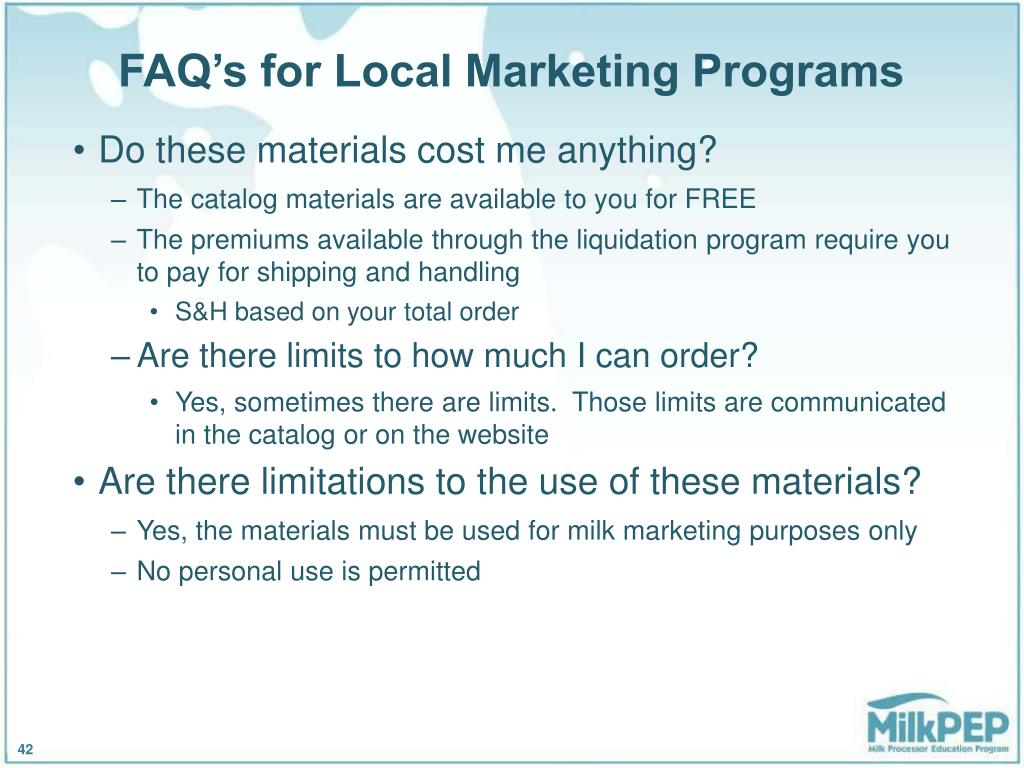 FAQ's for Local Marketing Programs