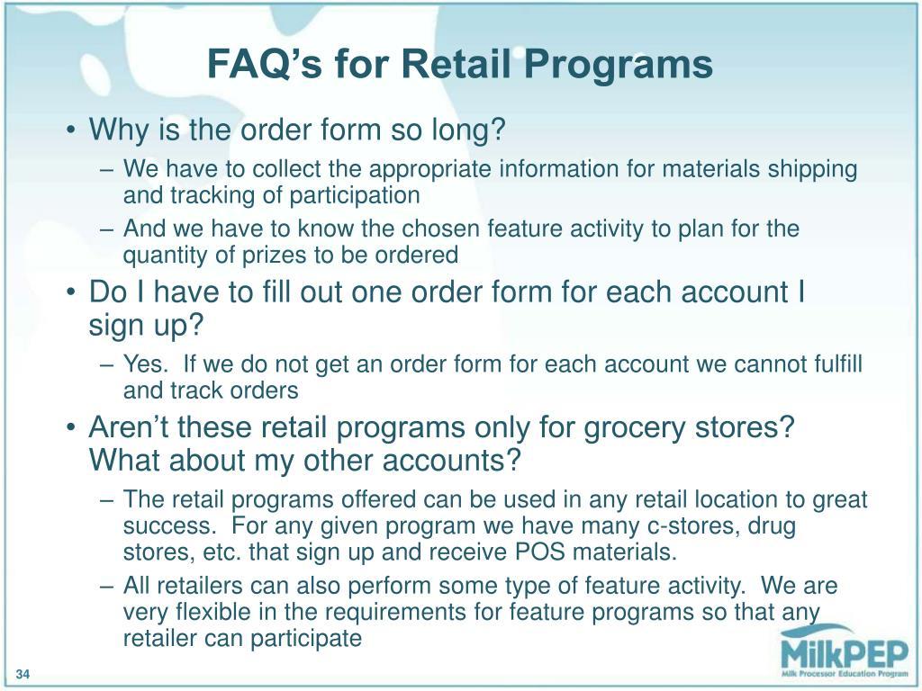 FAQ's for Retail Programs