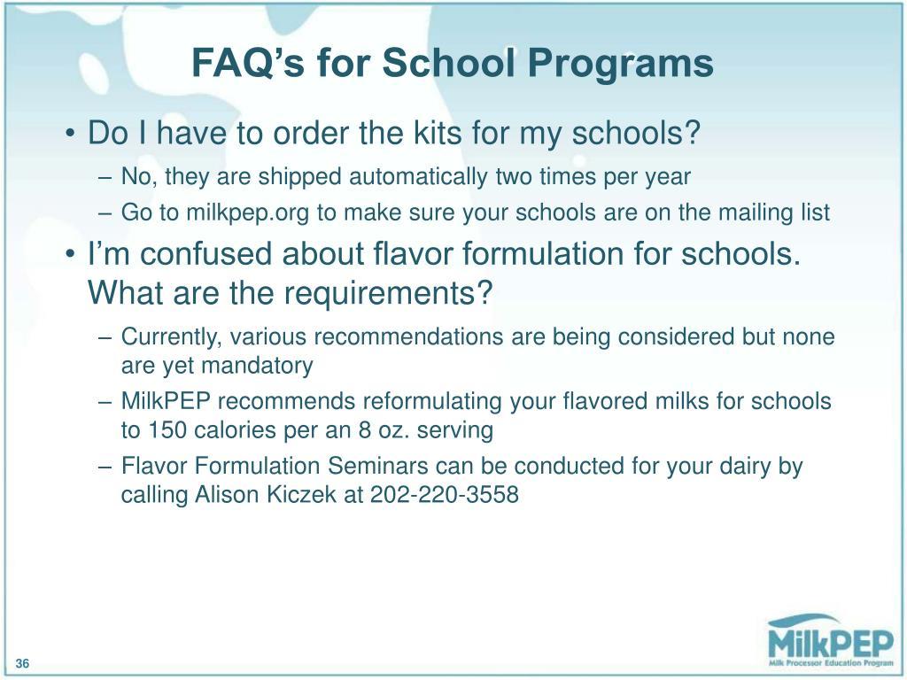 FAQ's for School Programs