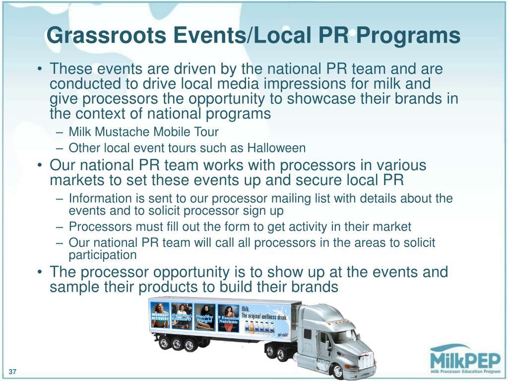 Grassroots Events/Local PR Programs