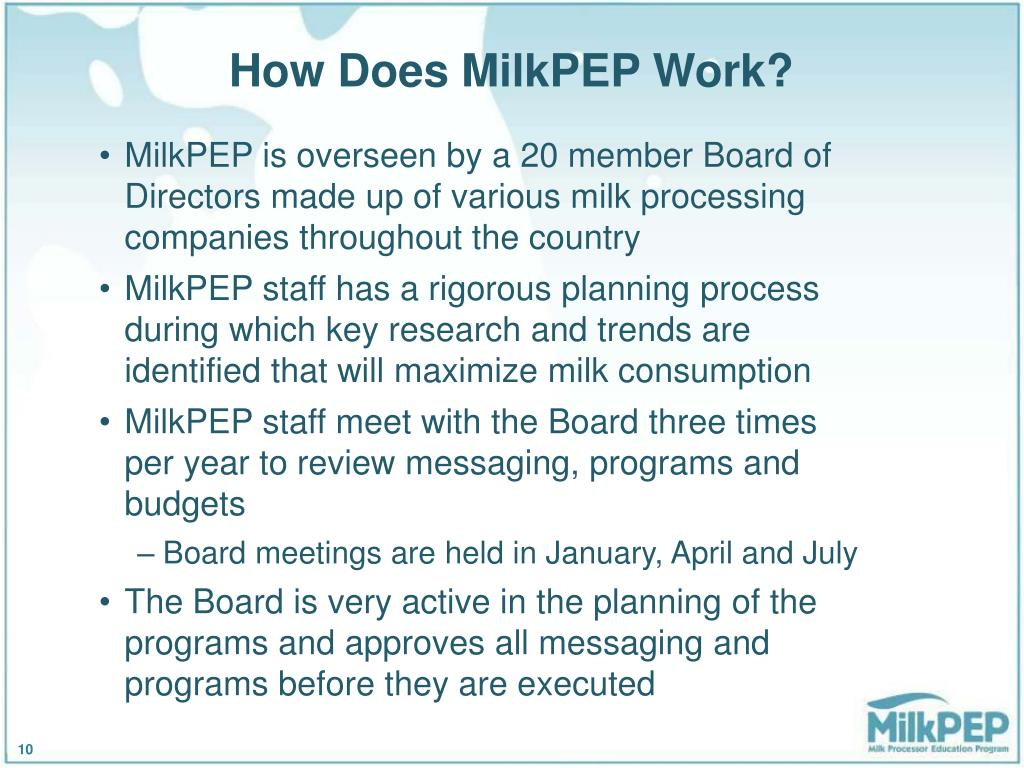 How Does MilkPEP Work?