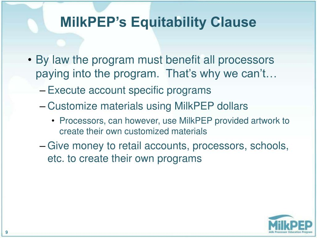 MilkPEP's Equitability Clause