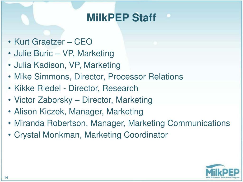 MilkPEP Staff