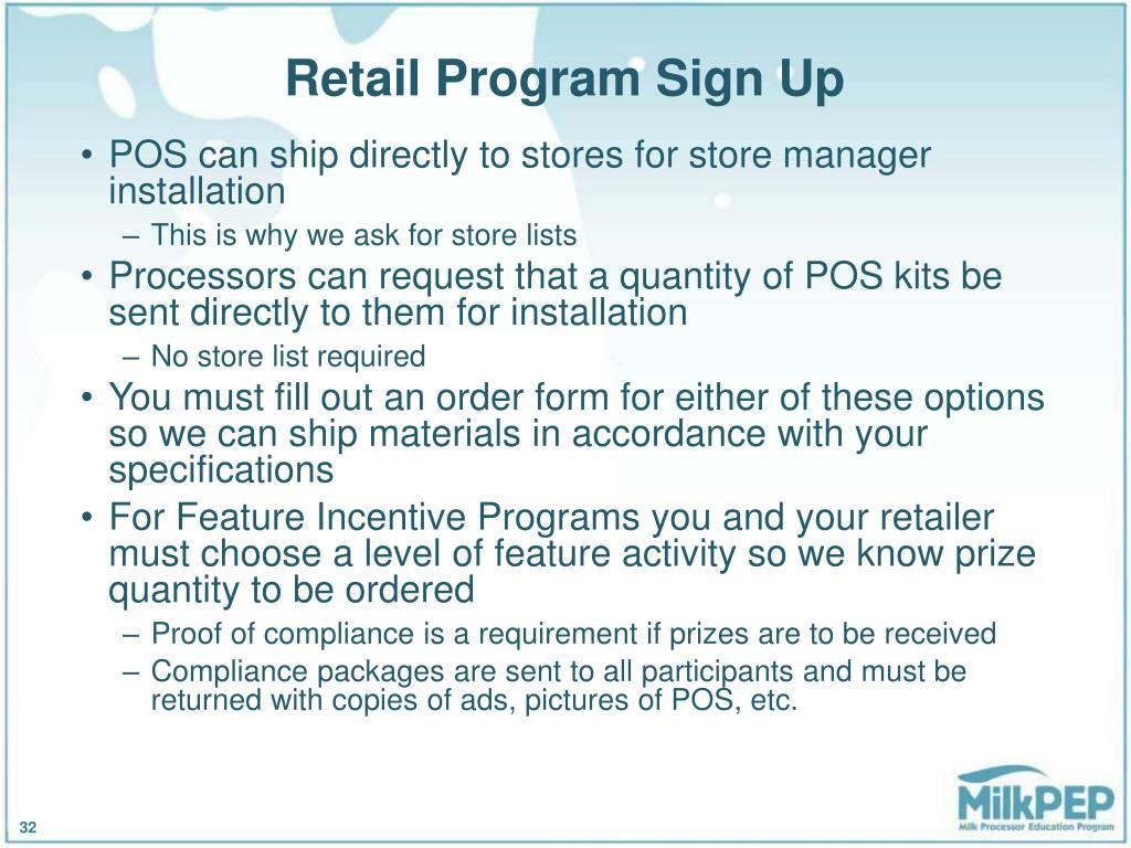 Retail Program Sign Up