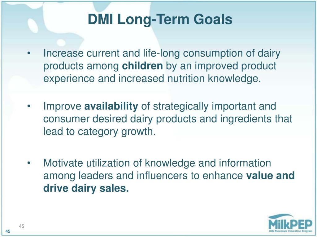 DMI Long-Term Goals