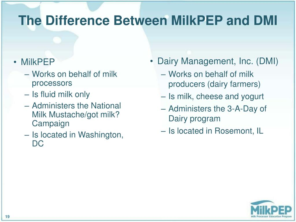 The Difference Between MilkPEP and DMI