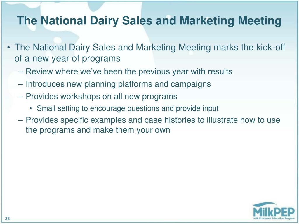 The National Dairy Sales and Marketing Meeting