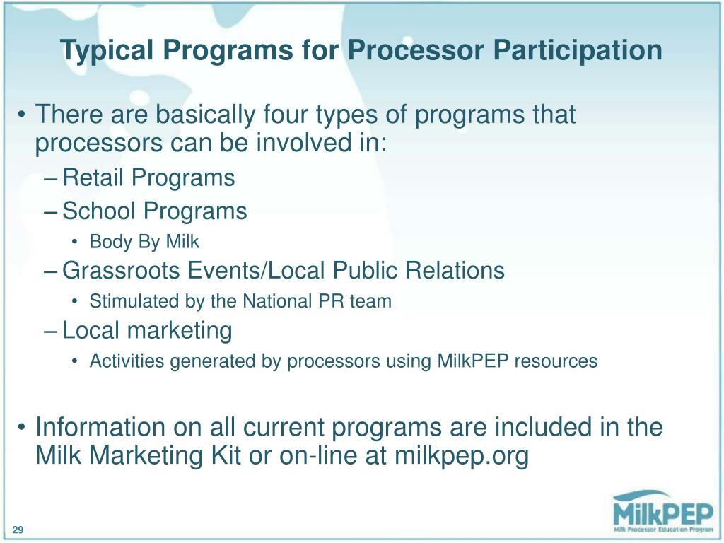 Typical Programs for Processor Participation