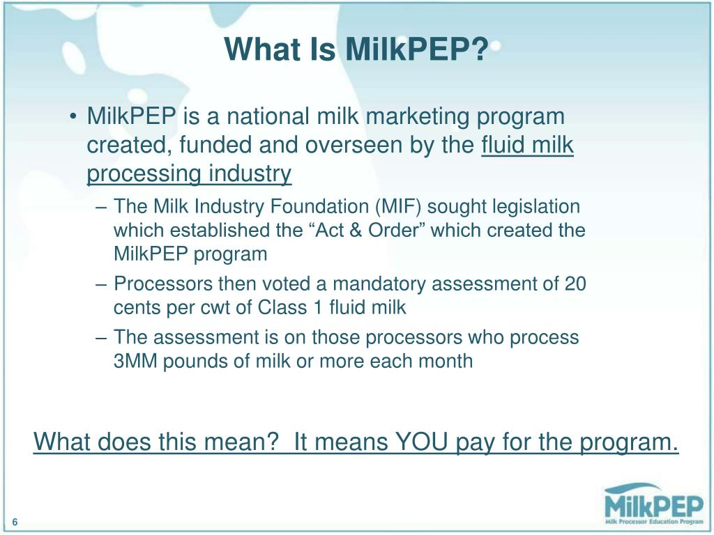 What Is MilkPEP?