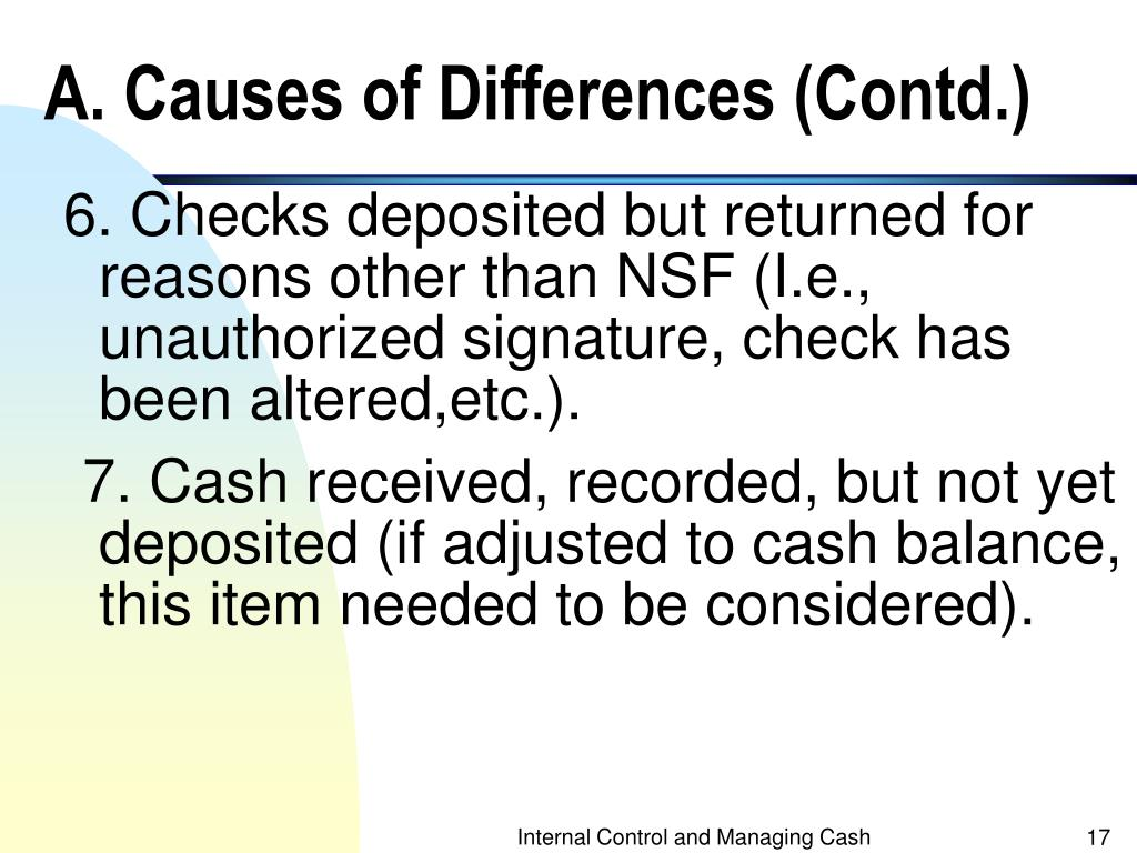 A. Causes of Differences (Contd.)