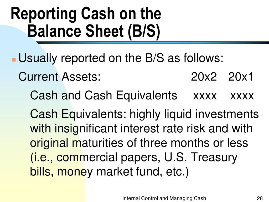 Reporting Cash on the