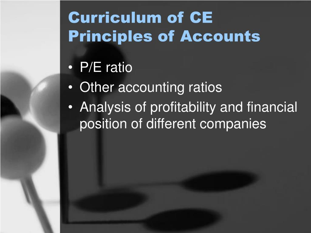 Curriculum of CE Principles of Accounts