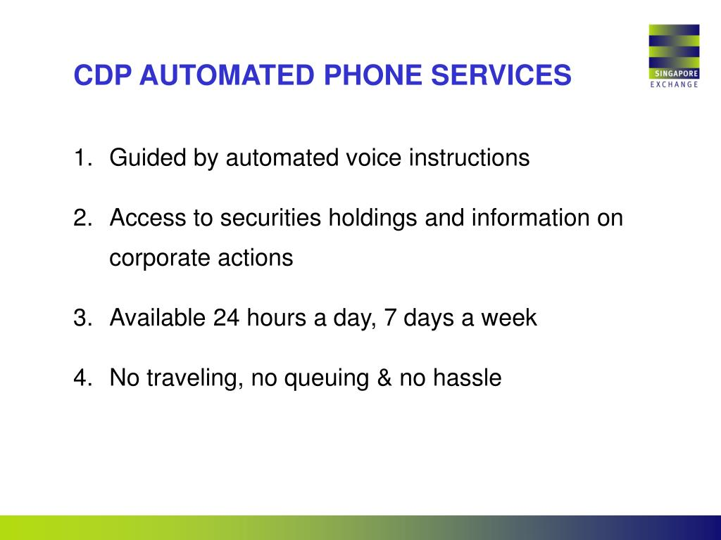 CDP AUTOMATED PHONE SERVICES
