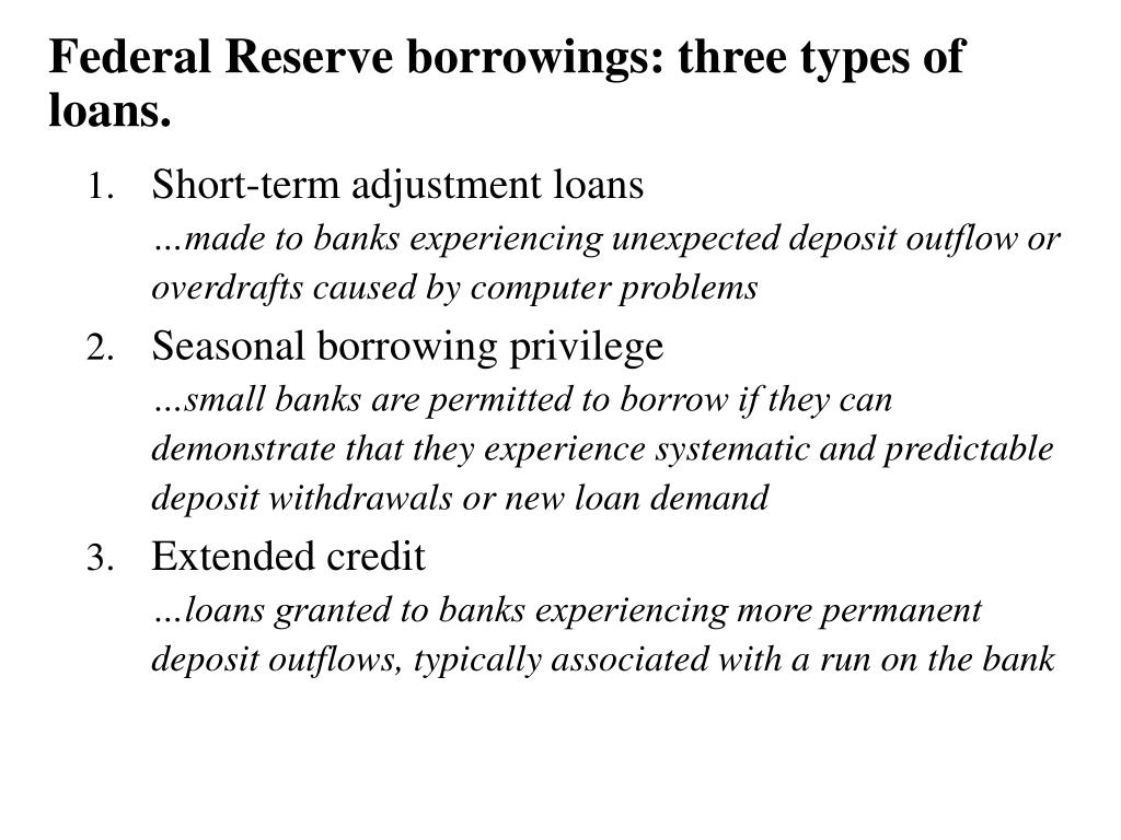Federal Reserve borrowings: three types of loans.