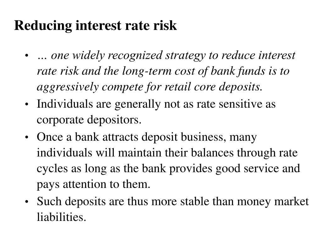Reducing interest rate risk