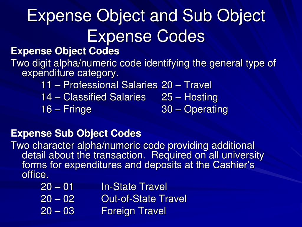 Expense Object Codes