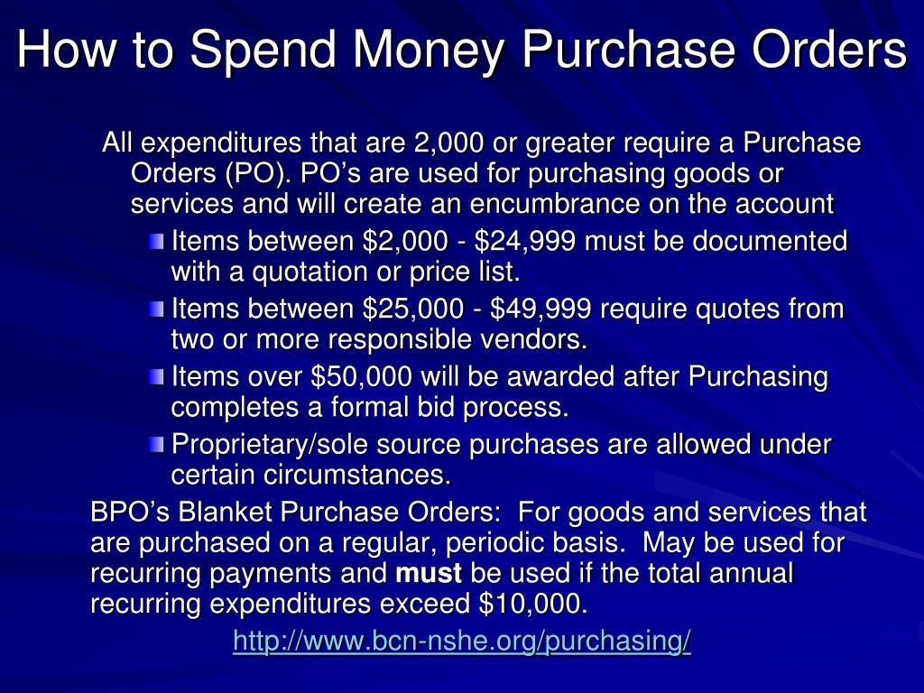 How to Spend Money Purchase Orders