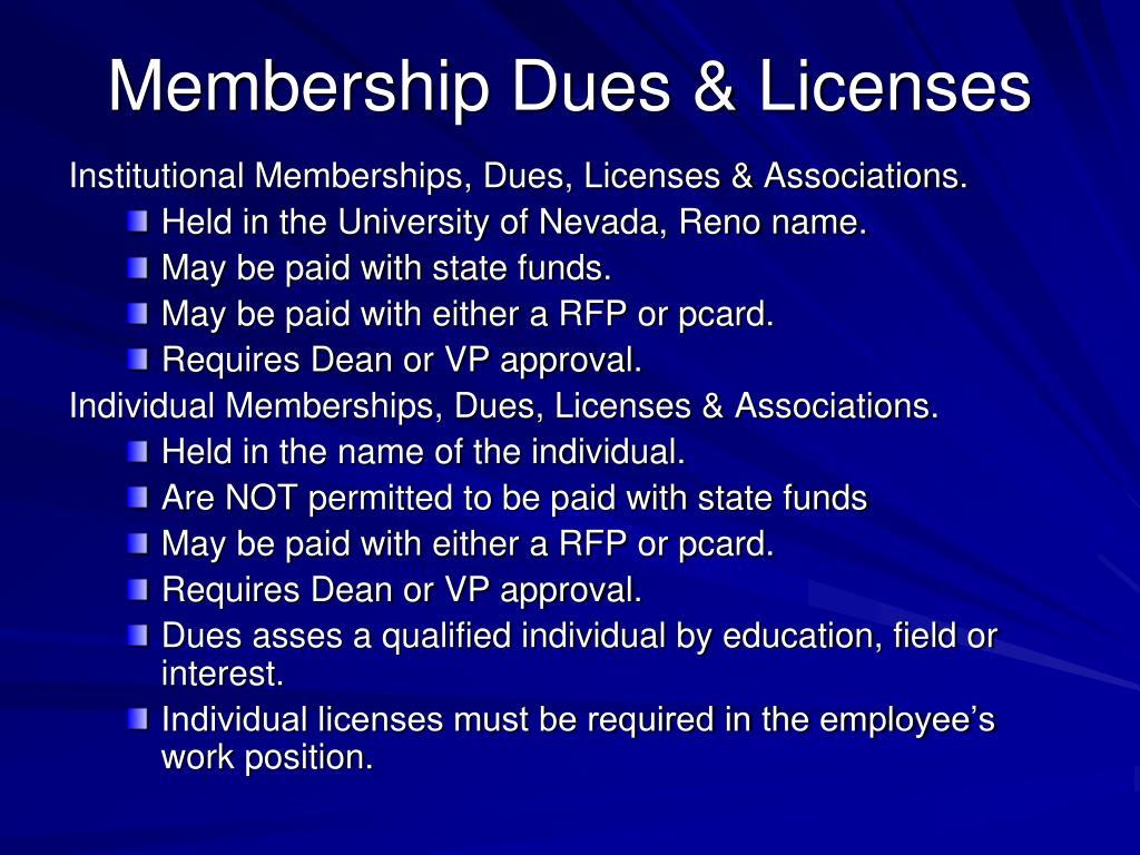 Membership Dues & Licenses