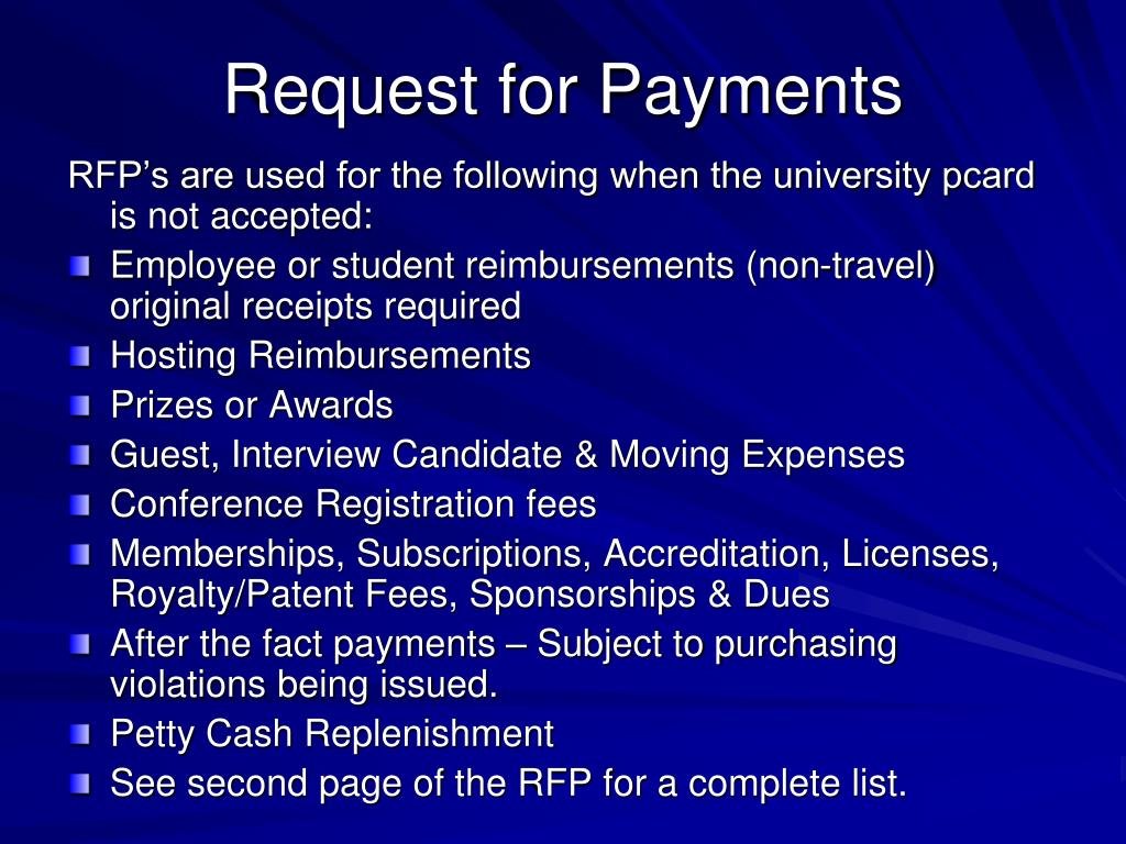 Request for Payments