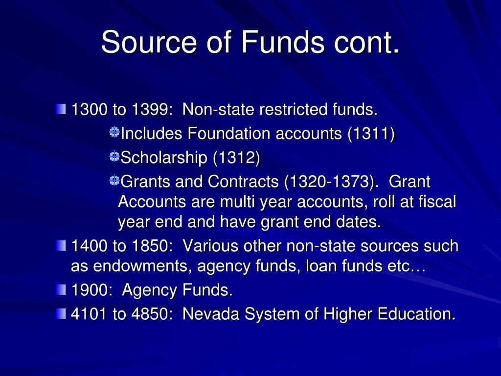 Source of Funds cont.