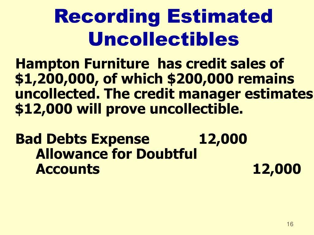 Recording Estimated Uncollectibles