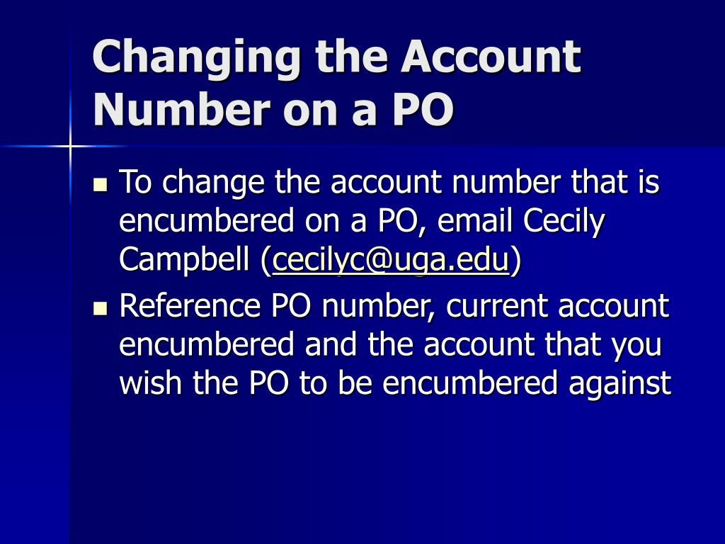 Changing the Account Number on a PO