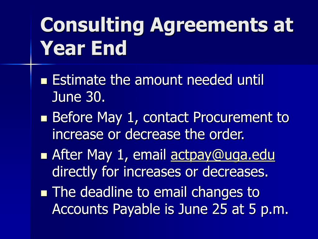 Consulting Agreements at Year End