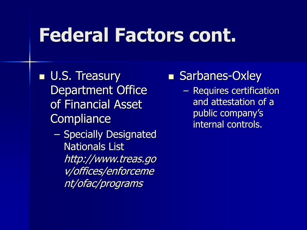U.S. Treasury Department Office of Financial Asset Compliance