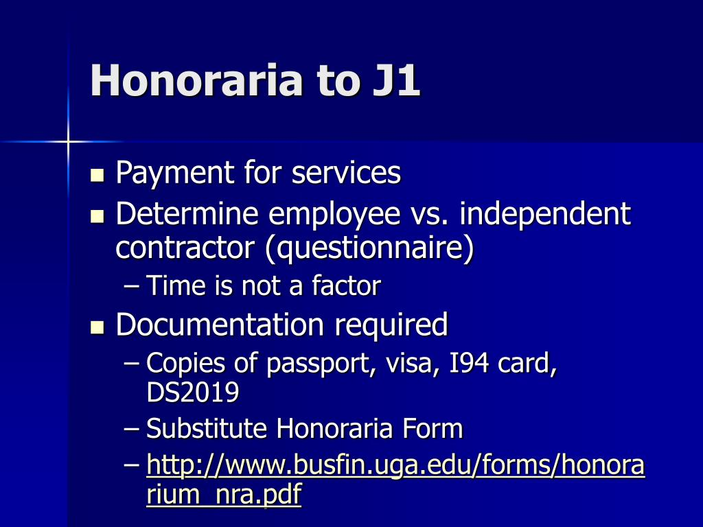 Honoraria to J1