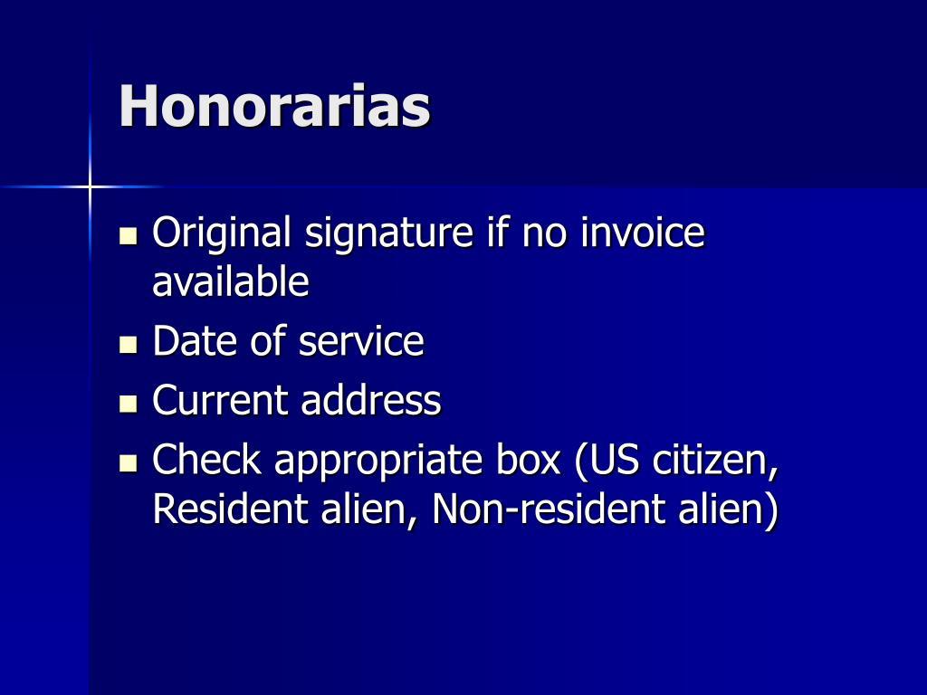 Honorarias