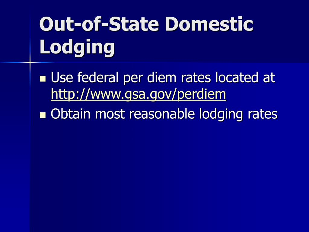 Out-of-State Domestic Lodging