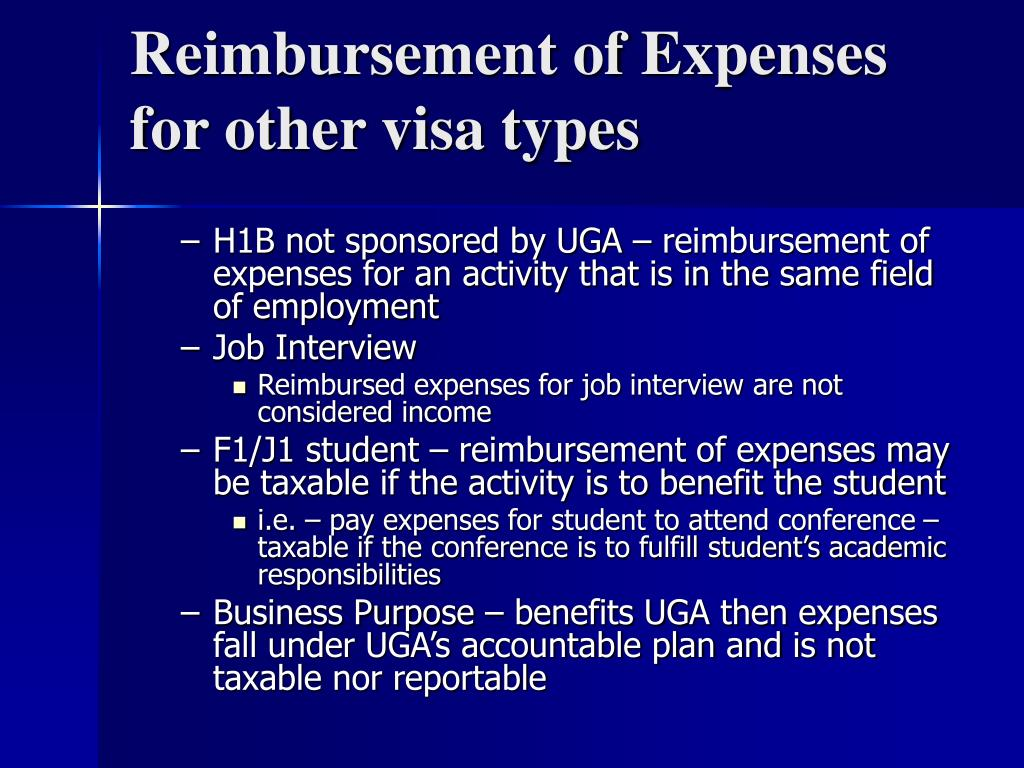 Reimbursement of Expenses for other visa types