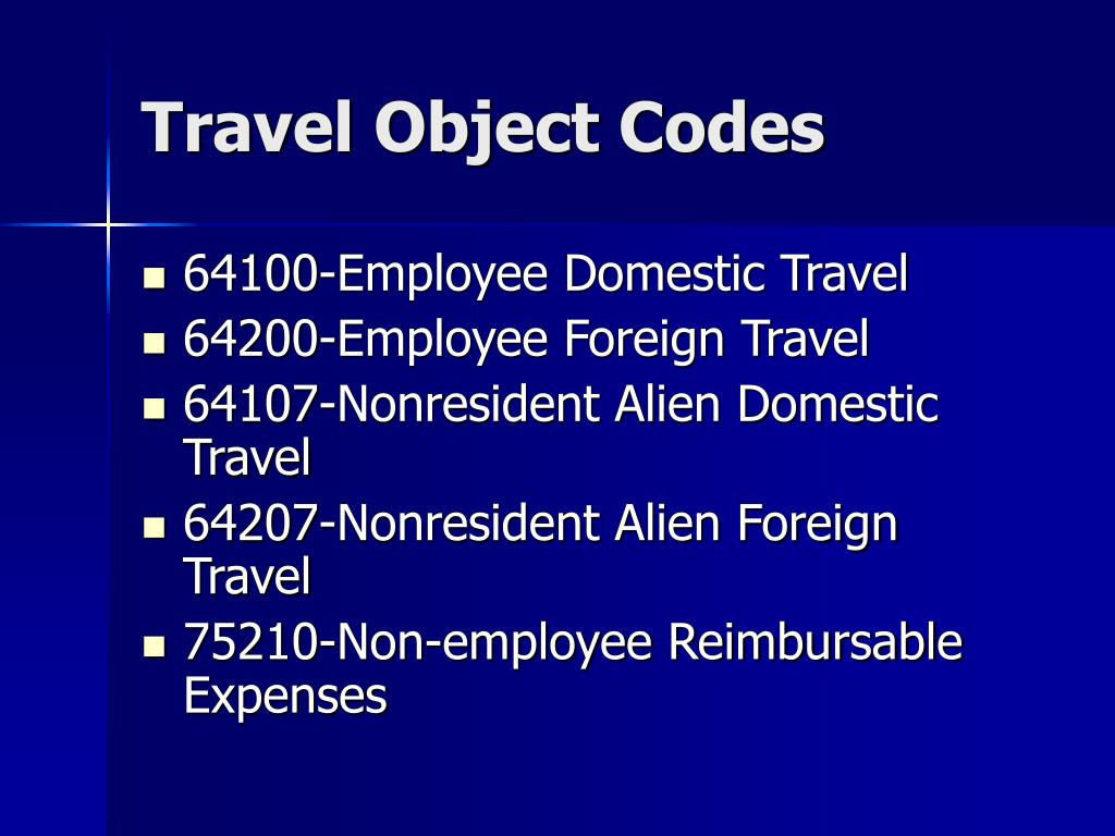 Travel Object Codes