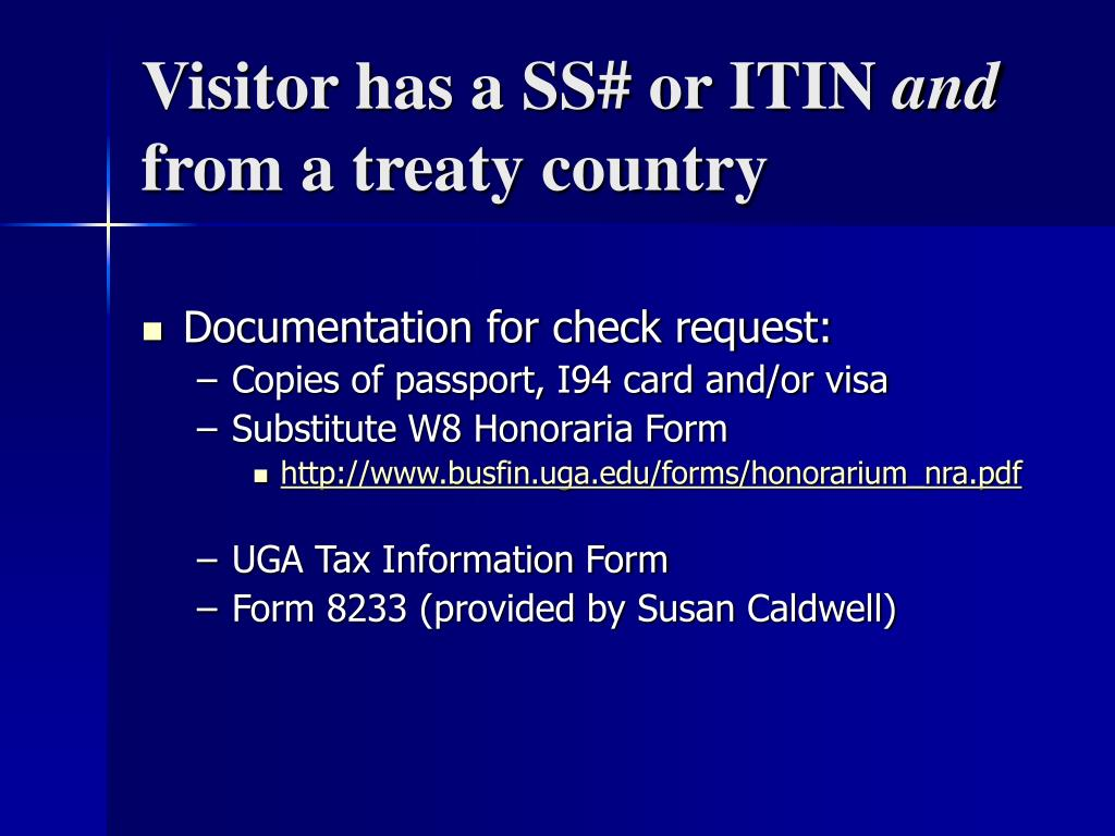 Visitor has a SS# or ITIN