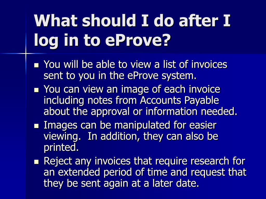 What should I do after I log in to eProve?