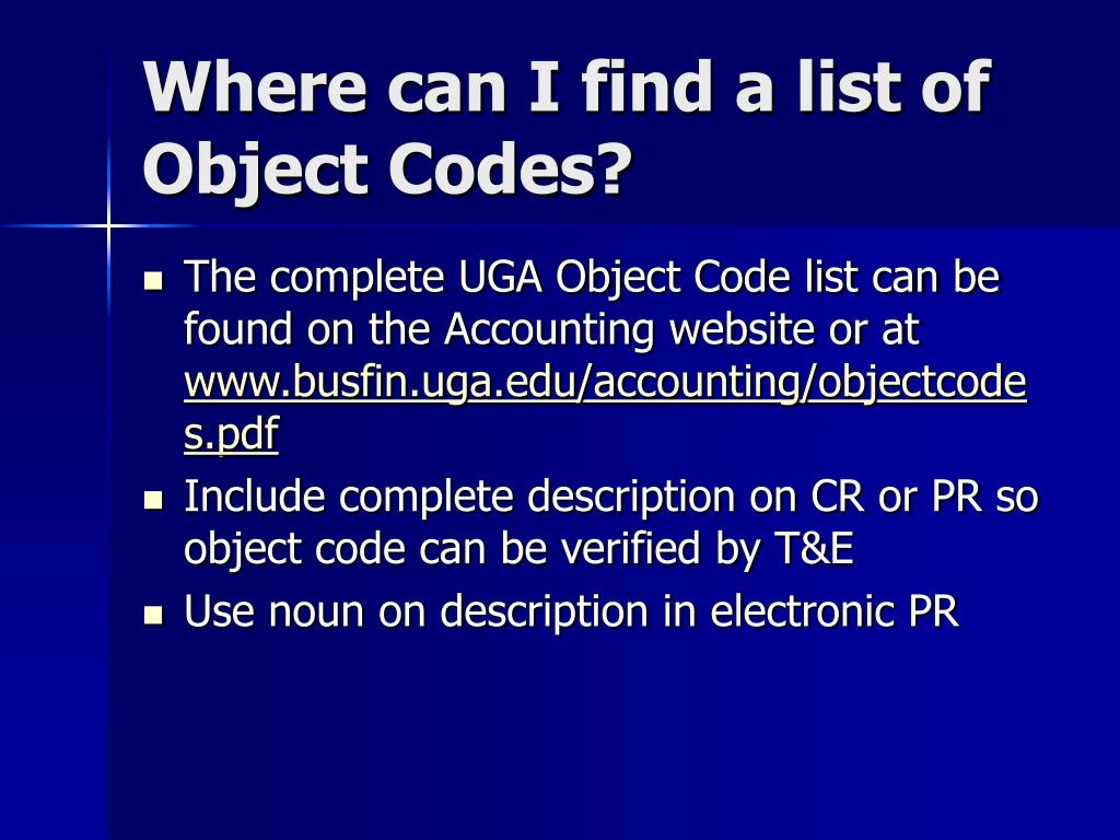 Where can I find a list of Object Codes?
