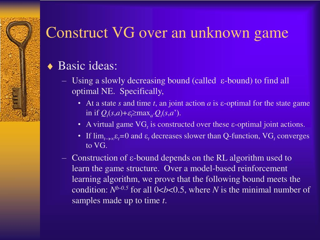 Construct VG over an unknown game