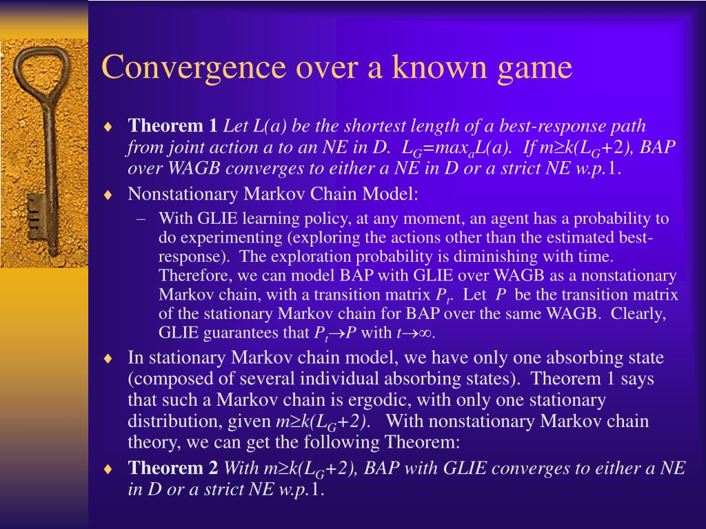Convergence over a known game
