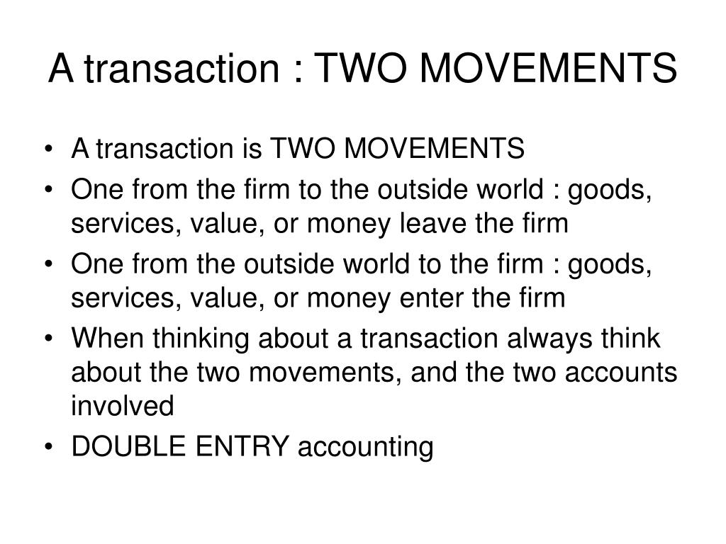 A transaction : TWO MOVEMENTS