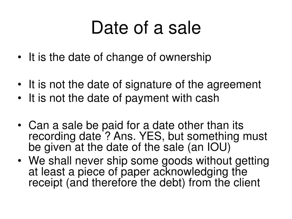 Date of a sale