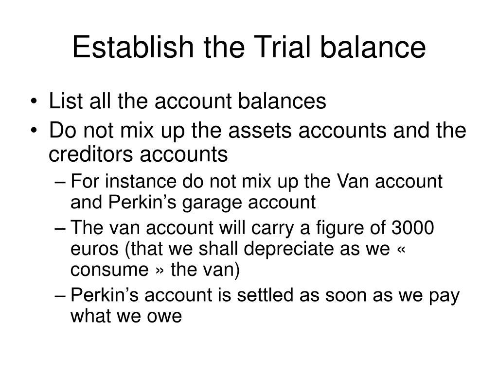 Establish the Trial balance