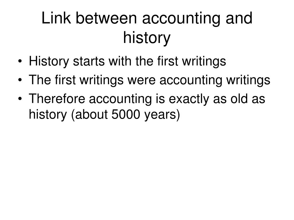Link between accounting and history