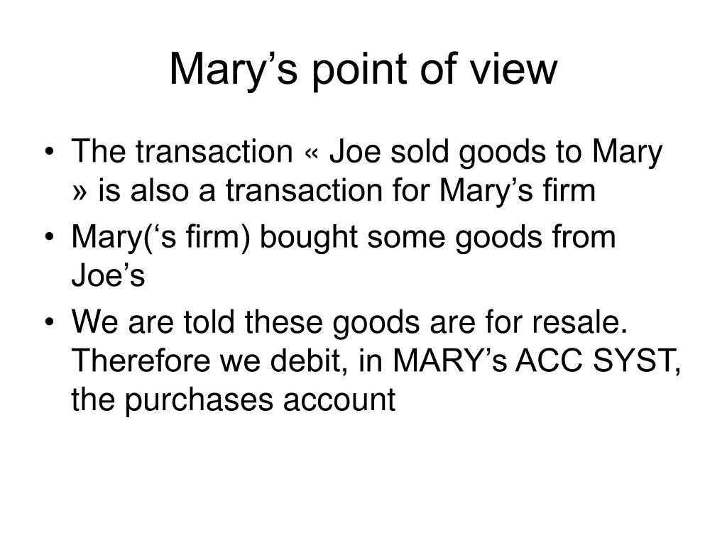 Mary's point of view