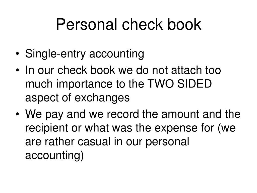 Personal check book