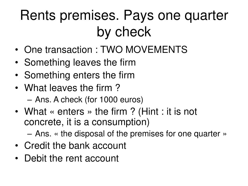 Rents premises. Pays one quarter by check