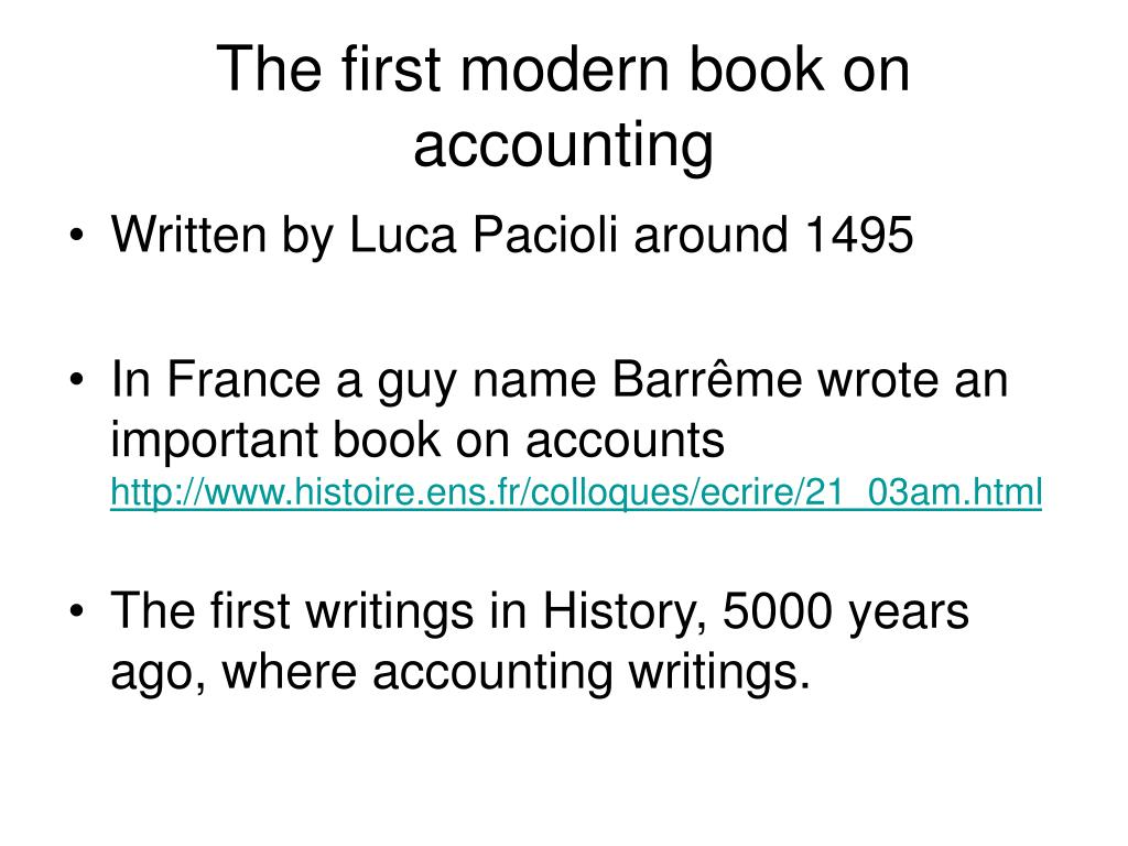The first modern book on accounting